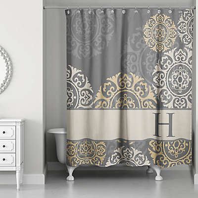Medallions Shower Curtain in Grey/Taupe/Gold