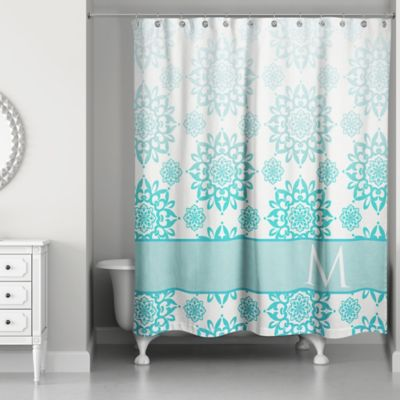 Floral Medallions Shower Curtain In Aqua White