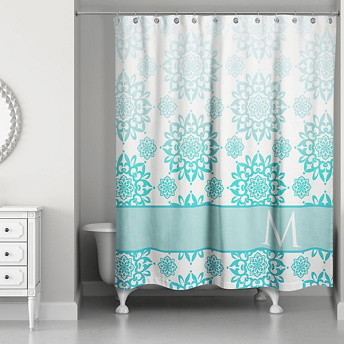 Floral Medallions Shower Curtain In Aqua/White