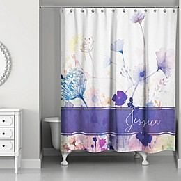 Watercolor Botanicals Shower Curtain in Purple/White