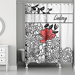 Graphic Line Flowers Shower Curtain in White/Black/Red