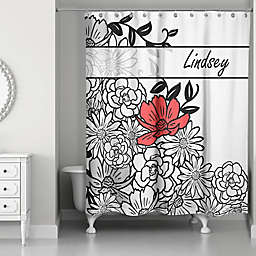 Graphic Line Flowers Shower Curtain In White Black Red