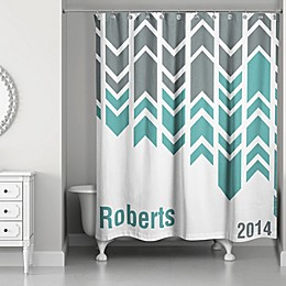 Arrow Line Shower Curtain in Green/Grey/White