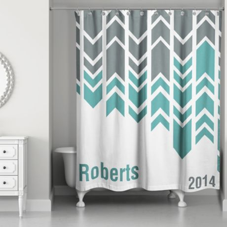 arrow line shower curtain in green grey white bed bath beyond. Black Bedroom Furniture Sets. Home Design Ideas