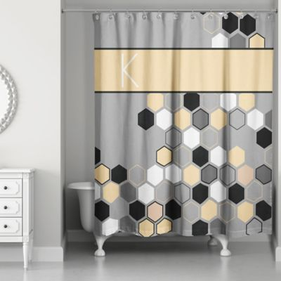 Honeycomb Shower Curtain In Grey Yellow Black