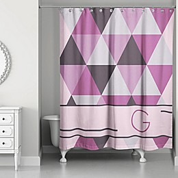 Triangle Personalized Shower Curtain in Radiant Orchid