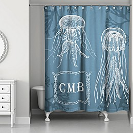 Jelly Fish Personalized Shower Curtain in White/Blue