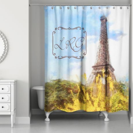 Paris Personalized Shower Curtain In Blue Yellow Bed