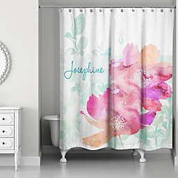Watercolor Florals Shower Curtain in Pink/Green/White