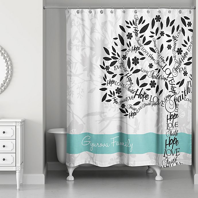 Family Tree Personalized Shower Curtain In White Teal