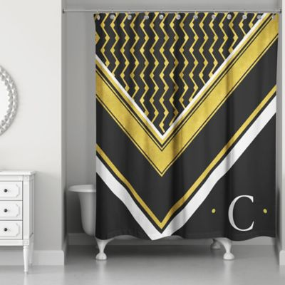 Geo Custom Shower Curtain In Black White Gold
