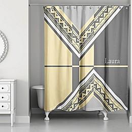 Geo Custom Shower Curtain in Grey/Yellow