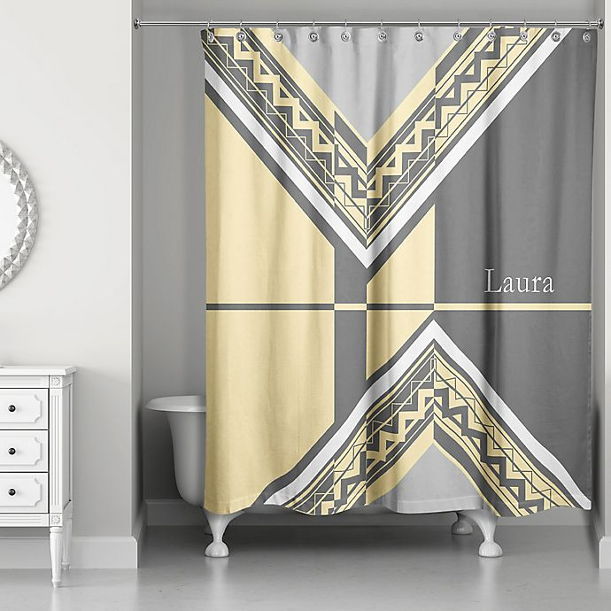 Alternate image 1 for Geo Custom Shower Curtain in Grey/Yellow