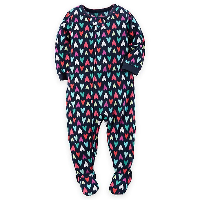 Alternate image 1 for carter's® Multi Heart Zip-Front Footed Pajamas in Multi