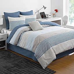 IZOD® Chambray Stripe Reversible Comforter Set in Blue