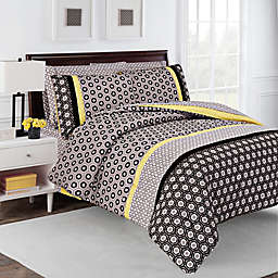 robinzingone Hexagon Reversible Comforter Set in Taupe/Yellow