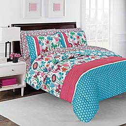 robinzingone Flirty Floral 7-Piece Comforter Set in Aqua/Pink