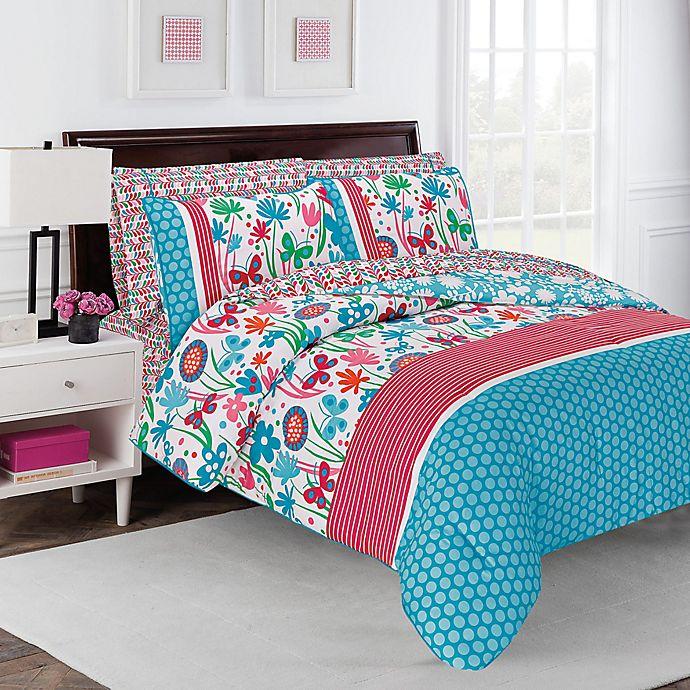 Alternate image 1 for robinzingone Flirty Floral 7-Piece Comforter Set in Aqua/Pink