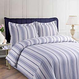 Tribeca Living Stripe 200 GSM Printed Flannel Duvet Cover Set in Blue