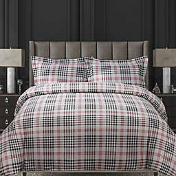 Tribeca Living Plaid 200 GSM Printed Flannel Duvet Cover Set in Red