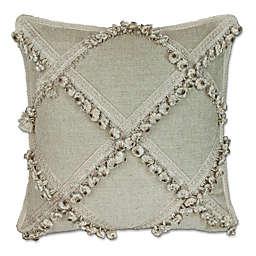 Austin Horn Classics Jacqueline Zardozi Square Throw Pillow in Cream