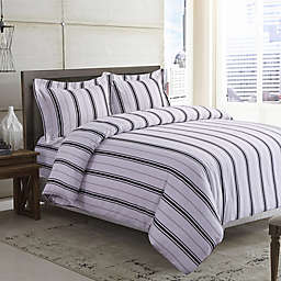 Tribeca Living Stripe 170 GSM Printed Flannel Duvet Cover Set