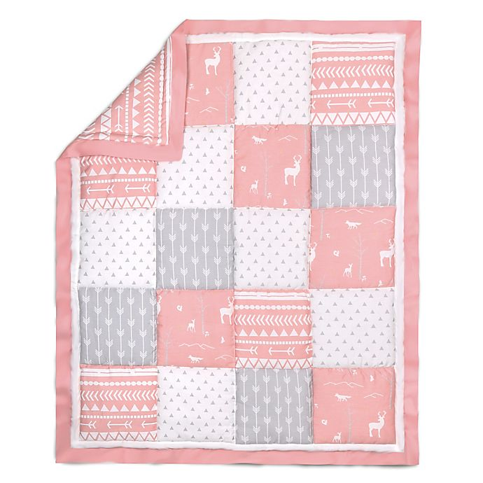 Alternate image 1 for The Peanut Shell® Woodland Patchwork Quilt in Coral/Grey