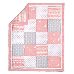 The Peanut Shell® Woodland Patchwork Quilt in Coral/Grey