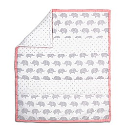 The Peanutshell™ Elephant Stripe Quilt in Coral/Grey