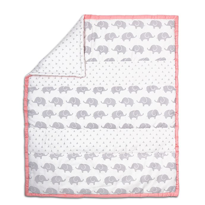 Alternate image 1 for The Peanutshell™ Elephant Stripe Quilt in Coral/Grey