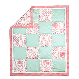 The Peanut Shell® Medallion Patchwork Quilt in Coral/Mint