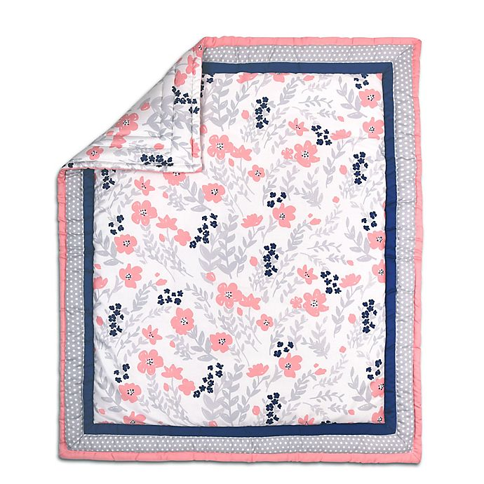 Alternate image 1 for The Peanut Shell® Floral and Dot Quilt in Coral/Grey