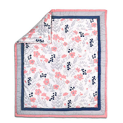The Peanut Shell® Floral and Dot Quilt in Coral/Grey