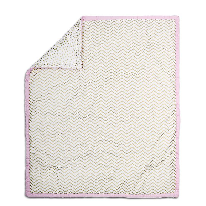 Alternate image 1 for The Peanut Shell® Chevron Quilt in Pink/Gold