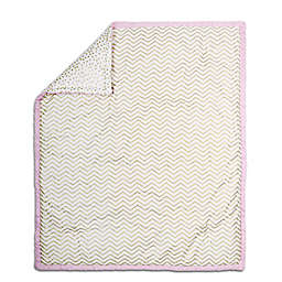 The Peanut Shell® Chevron Quilt in Pink/Gold
