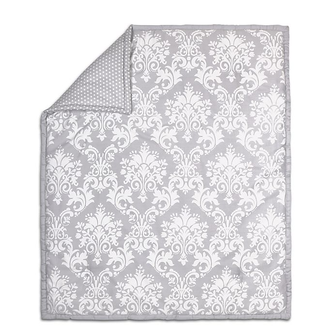 Alternate image 1 for The Peanut Shell® Damask Quilt in Grey