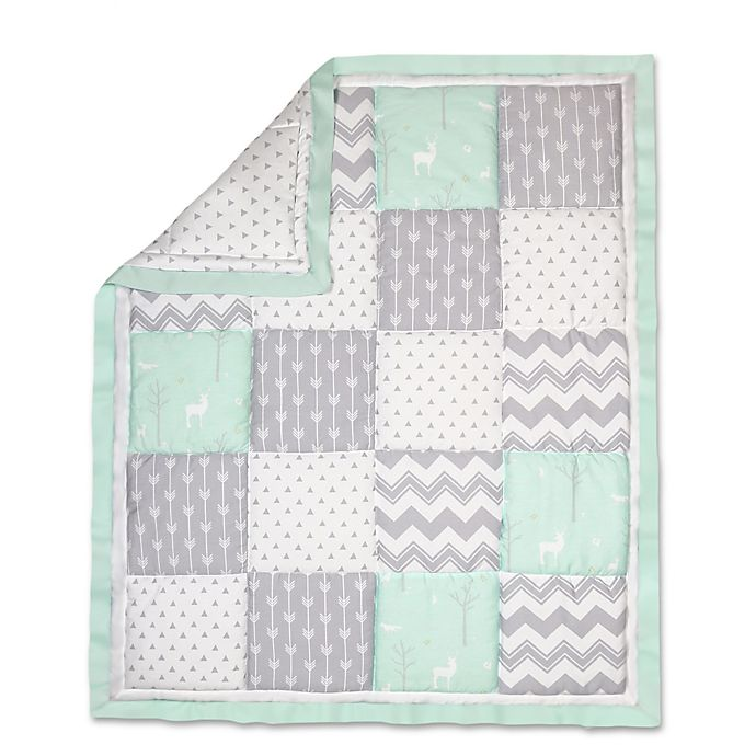 Alternate image 1 for The Peanut Shell® Woodland Patchwork Quilt in Mint/Grey