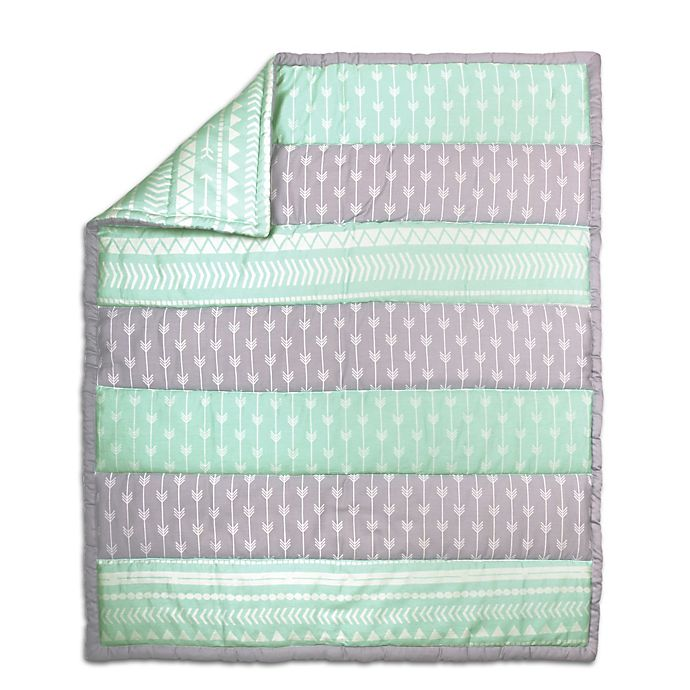 Alternate image 1 for The Peanut Shell Arrow Stripe Quilt in Mint/Grey