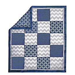 The Peanut Shell® Geometric Patchwork Quilt in Navy/Grey