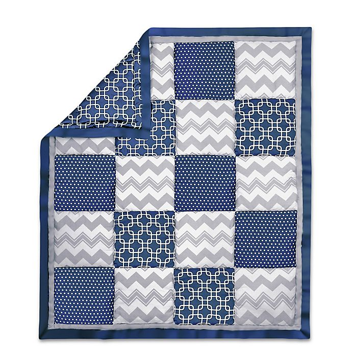 Alternate image 1 for The Peanut Shell® Geometric Patchwork Quilt in Navy/Grey