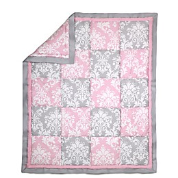 The Peanut Shell® Damask Patchwork Quilt in Pink/Grey