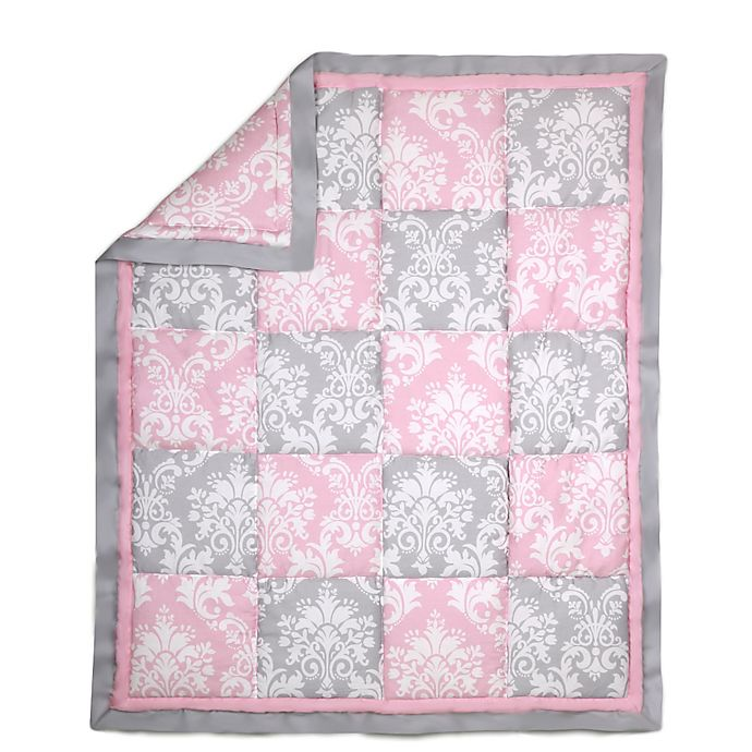 Alternate image 1 for The Peanut Shell® Damask Patchwork Quilt in Pink/Grey