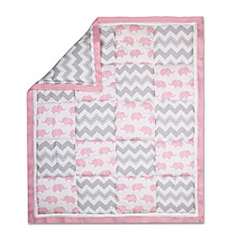 The Peanutshell™  Elephant Patchwork Quilt in Pink/Grey