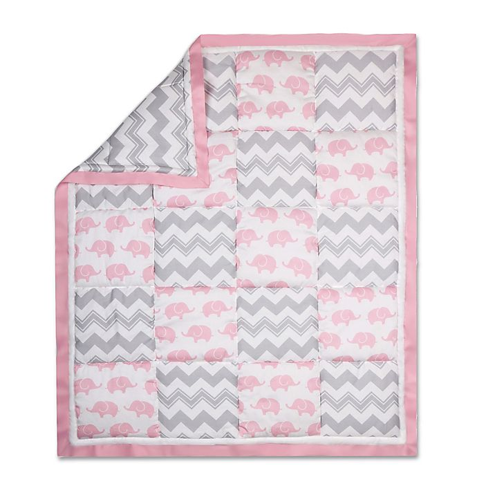 Alternate image 1 for The Peanutshell™  Elephant Patchwork Quilt in Pink/Grey