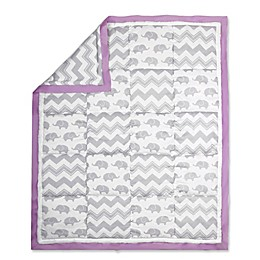 The Peanut Shell® Elephant Patchwork Quilt in Purple/Grey