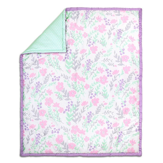 Alternate image 1 for The Peanut Shell® Floral Quilt in Purple/Mint