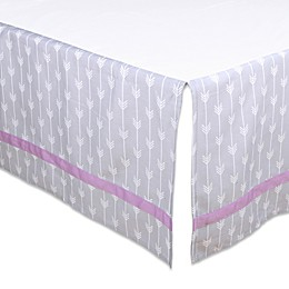 The Peanut Shell™ Arrow Crib Skirt in Purple/Grey