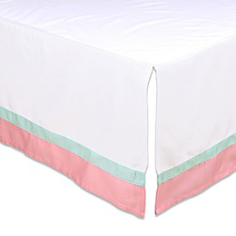 The Peanutshell™ Crib Skirt in Coral/Mint