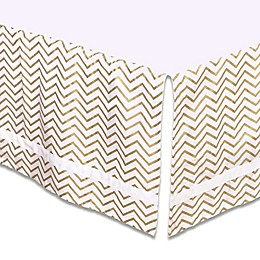 The Peanut Shell™ Chevron Crib Skirt in Gold