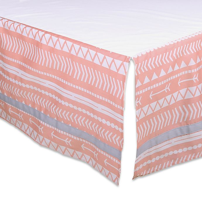 Alternate image 1 for The Peanutshell™ Tribal Crib Skirt in Coral/Grey